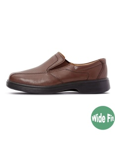 DB Shoes Chris Wide Fit Slip-on Brown Leather Shoe