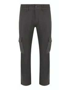 Bigdude Elasticated Waist Cargo Trousers Charcoal