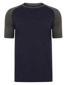 Bigdude Contrast Raglan Sleeve T-Shirt Navy/Charcoal