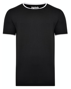 Bigdude Contrast Ringer T-Shirt Black Tall
