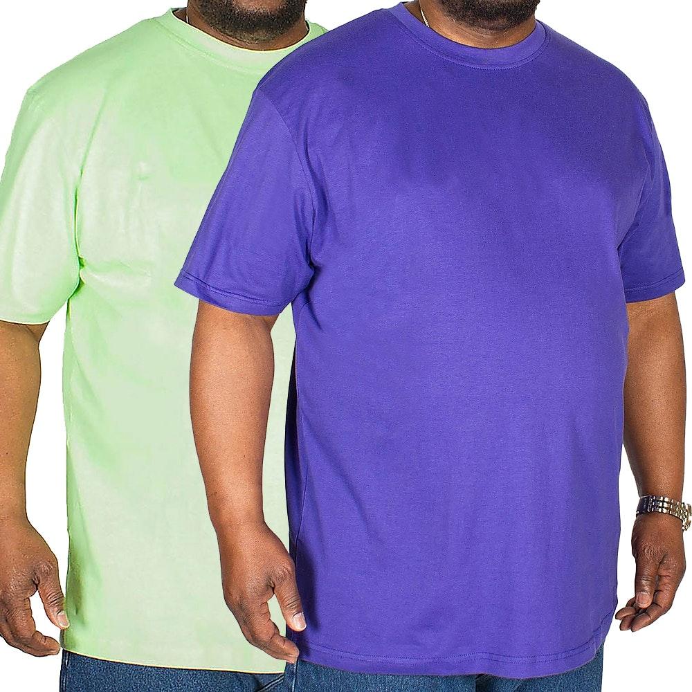Bigdude Plain Crew Neck T-Shirt Twin Pack Green/Violet