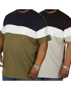 Bigdude Cut & Sew T-Shirt Twin Pack Grey/Olive