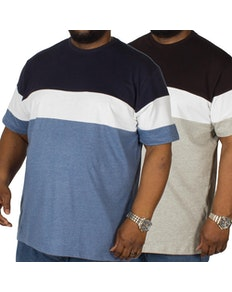 Bigdude Cut & Sew T-Shirt Twin Pack Grey/Denim