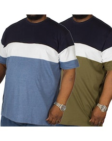 Bigdude Cut & Sew T-Shirt Twin Pack Denim/Olive