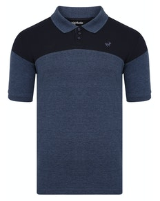 Bigdude Cut & Sew Polo Shirt Navy/Denim