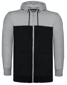Bigdude Cut & Sew Full Zip Hoody Grey/Black