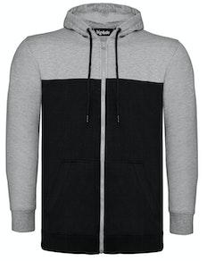 Bigdude Cut & Sew Full Zip Hoody Grey/Black