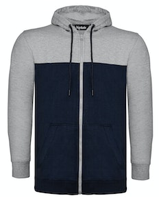 Bigdude Cut & Sew Full Zip Hoody Grey/Navy