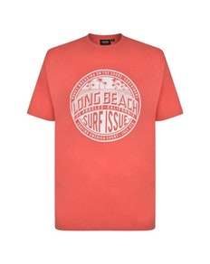 Espionage Long Beach Print T-Shirt Red