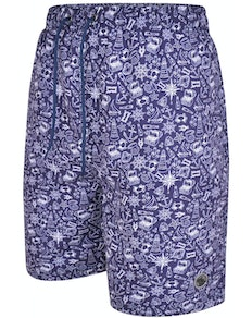 Espionage Nautical Print Swim Shorts Navy