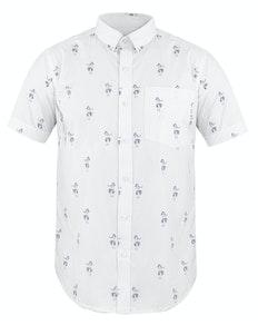 Bigdude Short Sleeve Hula Print Shirt White