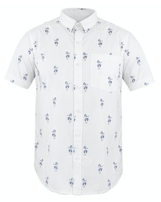 Bigdude Short Sleeve Hula Print Shirt White Tall