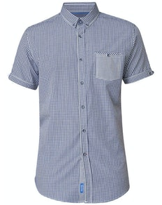 D555 Hank Gingham Check Shirt Navy/White Tall