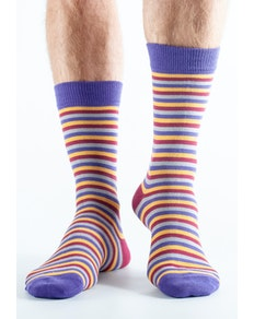 Doris and Dude Striped Socks Purple