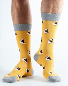 Doris and Dude Puffin Socks Yellow