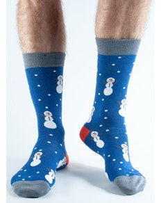 Doris & Dude Blue Snowman Socks