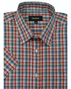 Metaphor Check Short Sleeve Shirt Red/Blue
