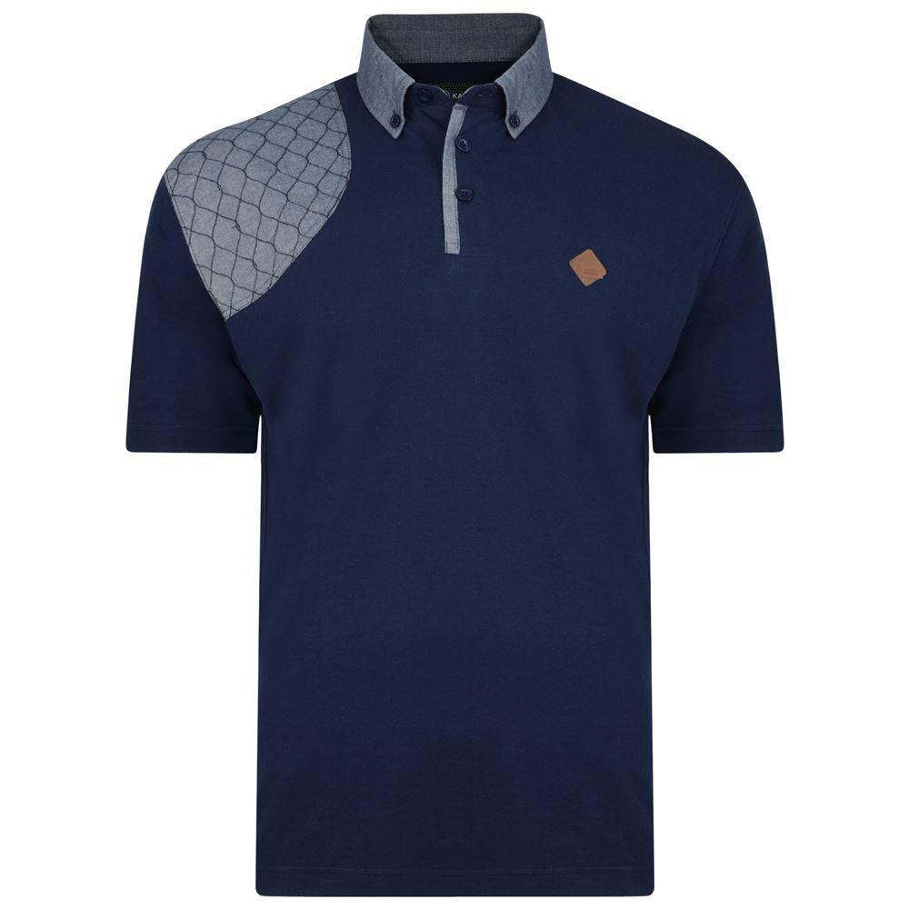 KAM Honeycomb Panel Polo Shirt Navy