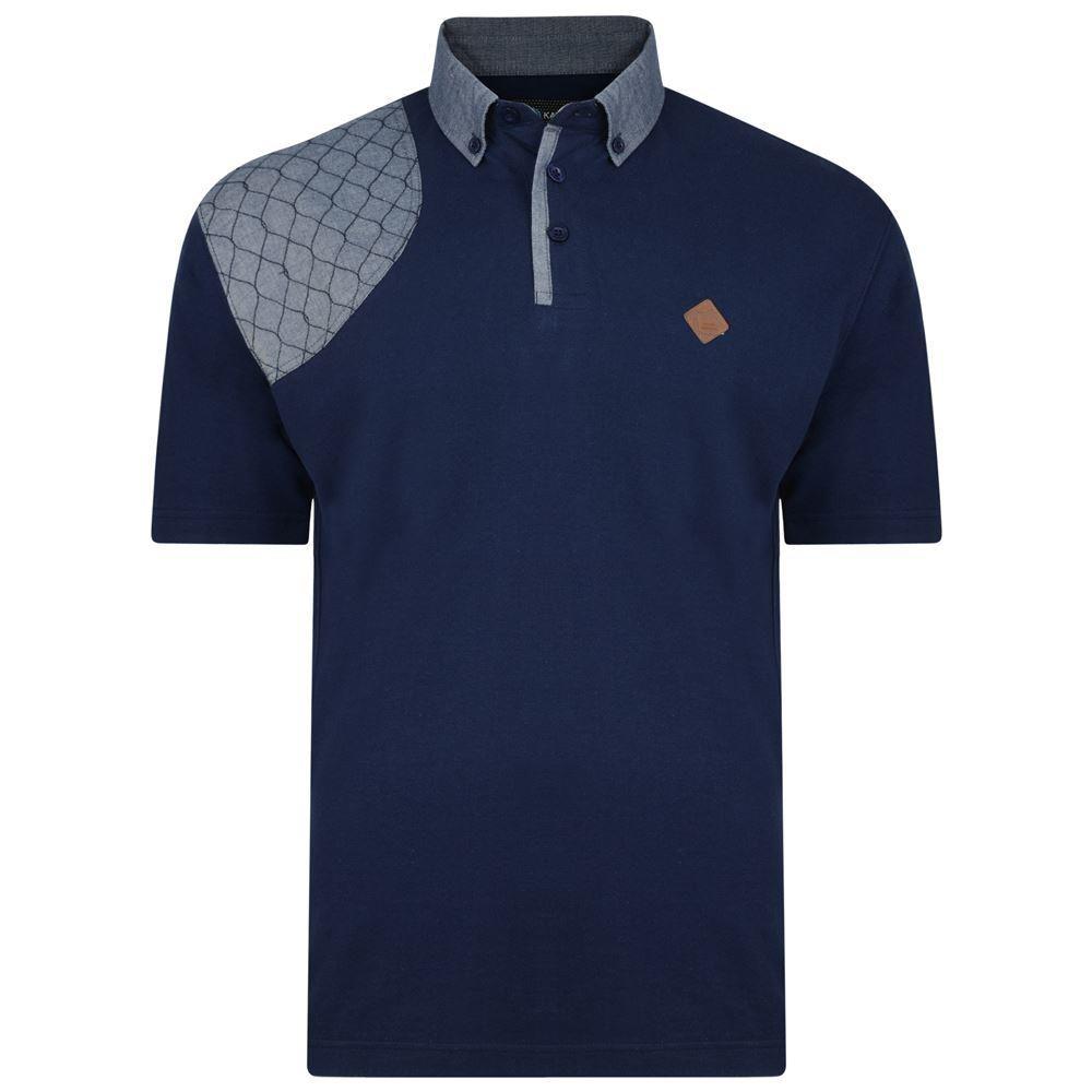 KAM Honeycomb Panel Polo Shirt Navy