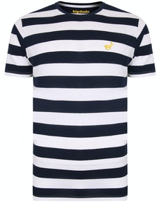 Bigdude Logo Striped T-Shirt Navy/White
