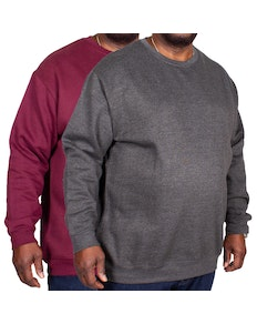Bigdude Essentials Jumper Twin Pack Burgundy/Charcoal