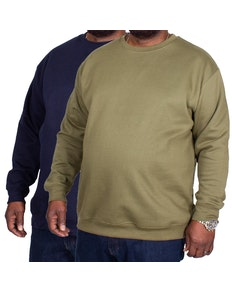 Bigdude Essentials Jumper Twin Pack Khaki/Navy
