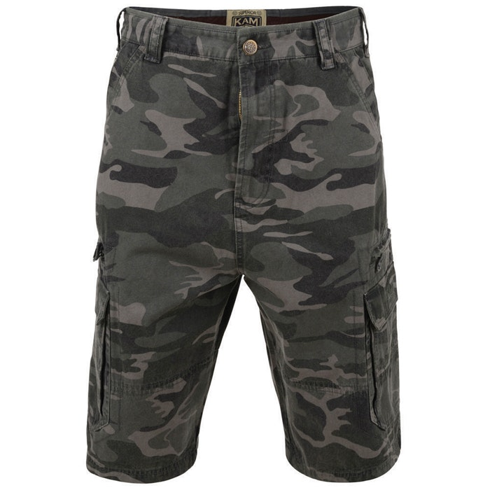 KAM Camo Cargo Shorts Khaki