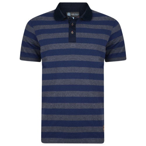 KAM Corduroy Trim Collar Polo Navy