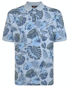 Espionage Leaf Printed Polo Shirt Blue