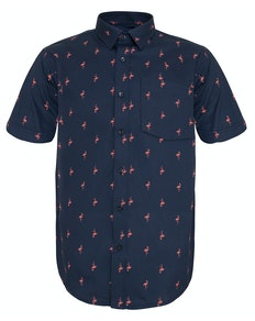 Bigdude Short Sleeve Flamingo Print Shirt Navy