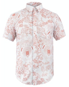 Bigdude Short Sleeve Floral Print Shirt White