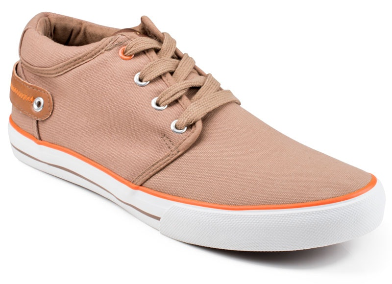 Front Reef Canvas Lace Up Trainers Tan