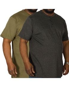 Bigdude Grandad T-Shirt Twin Pack Charcoal/Olive
