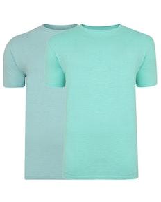 Bigdude Vintage Marl Slub T-Shirt Twin Pack Green/Turquoise