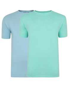 Bigdude Vintage Marl Slub T-Shirt Twin Pack Green/Sky Blue