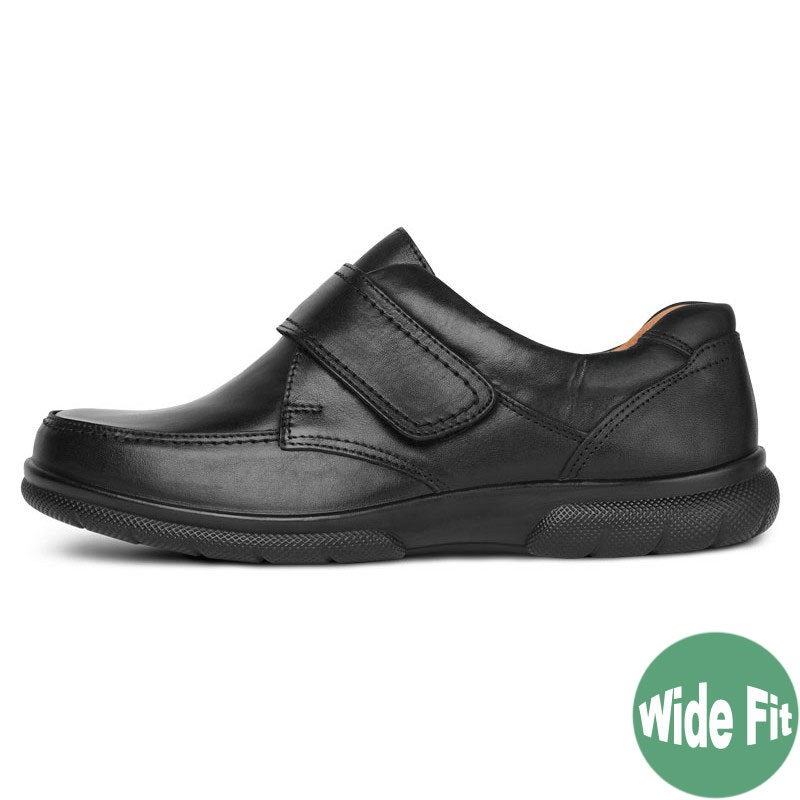 DB Shoes Havant Wide Fit Black Leather Shoe