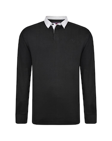 KAM Contrast Collar Polo Shirt Black