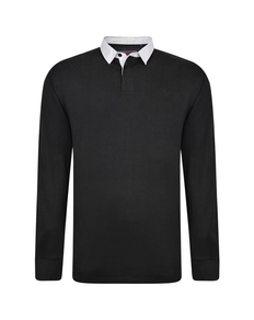 KAM Contrast Collar Polo Shirt Black