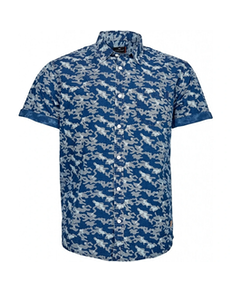 Replika Allover Printed Camo Short Sleeve Shirt Blue