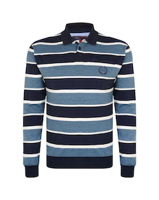 KAM Stripe Polo Sweater Navy