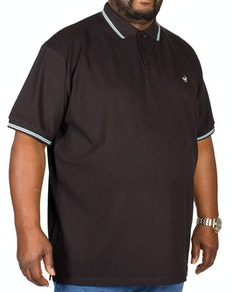 Bigdude Tipped Polo Shirt Black/Blue Tall