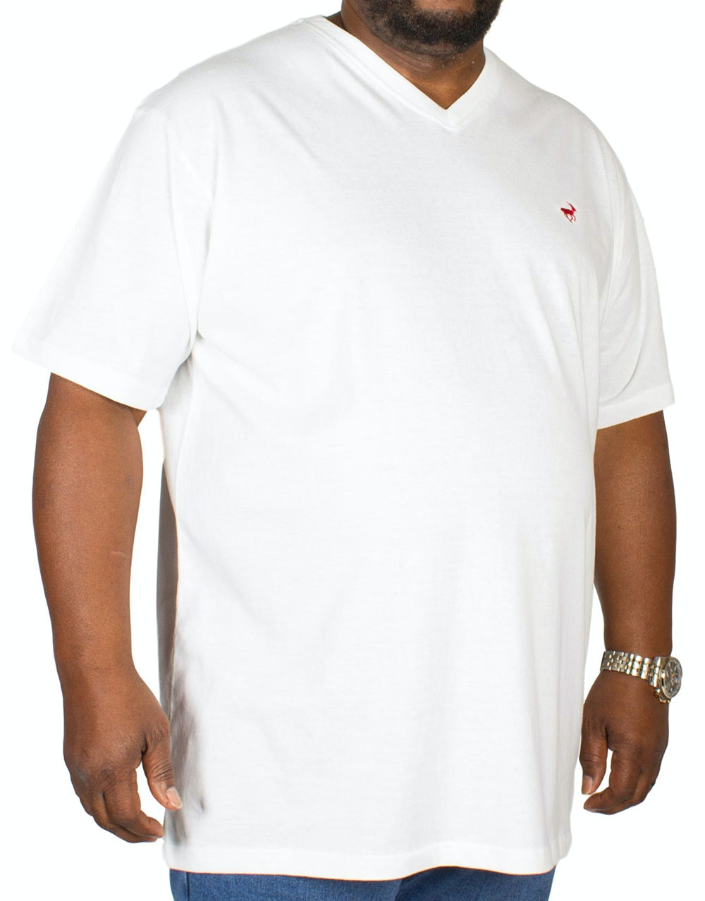 Bigdude Signature V-Neck T-Shirt Off White Tall