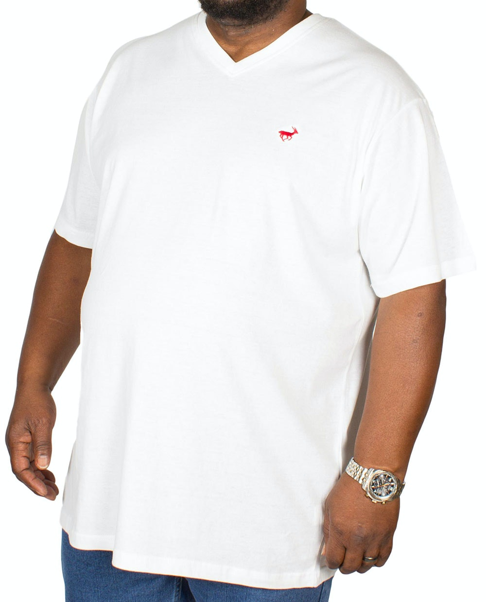 Bigdude Signature V-Neck T-Shirt Off White
