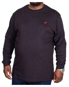 Bigdude Long Sleeve Crew Neck T-Shirt Black Tall