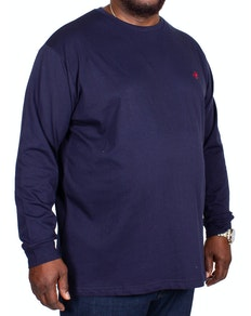 Bigdude Long Sleeve Crew Neck T-Shirt Navy