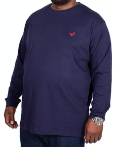 Bigdude Long Sleeve Crew Neck T-Shirt Navy Tall