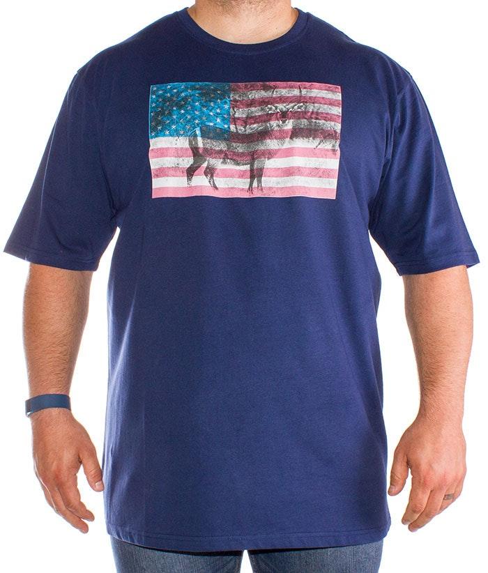 Bigdude Antelope Print T-Shirt Navy