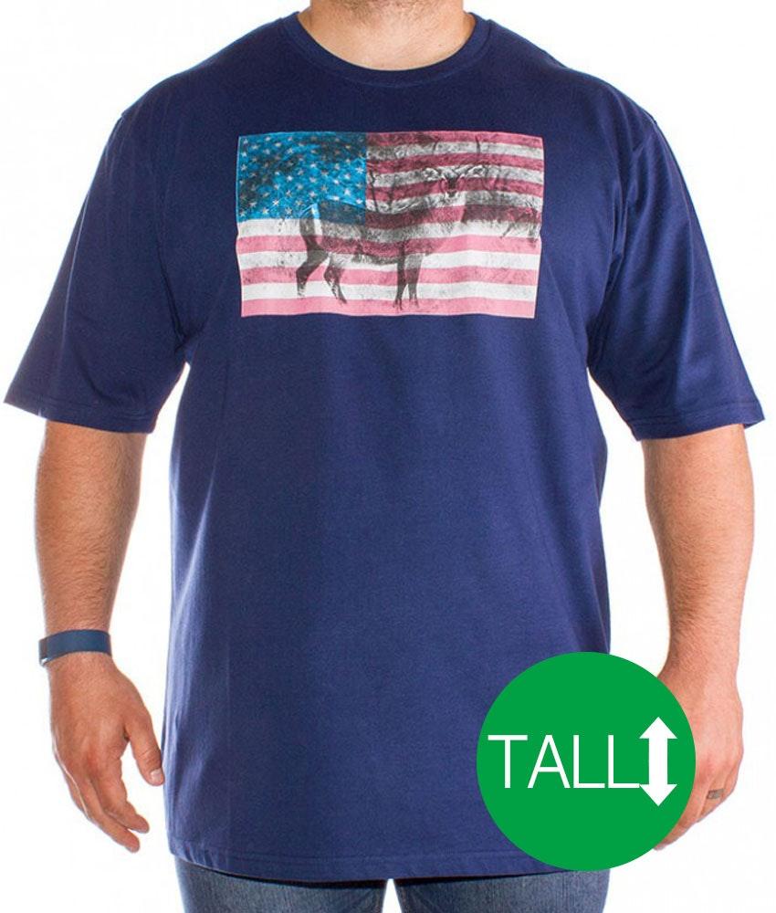 Bigdude Antelope Print T-Shirt Navy - Tall
