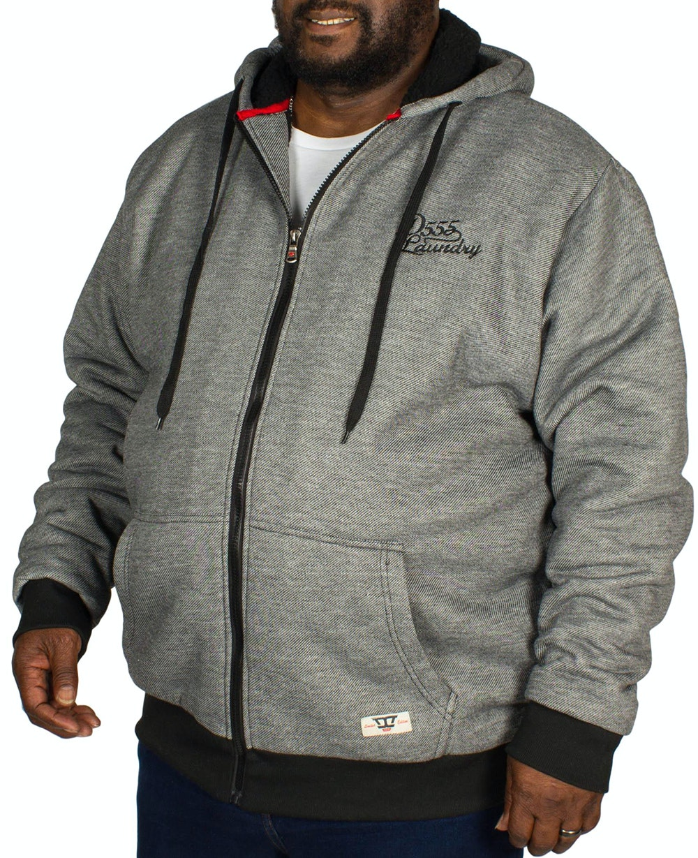 D555 William Sherpa Lined Hoody - Black