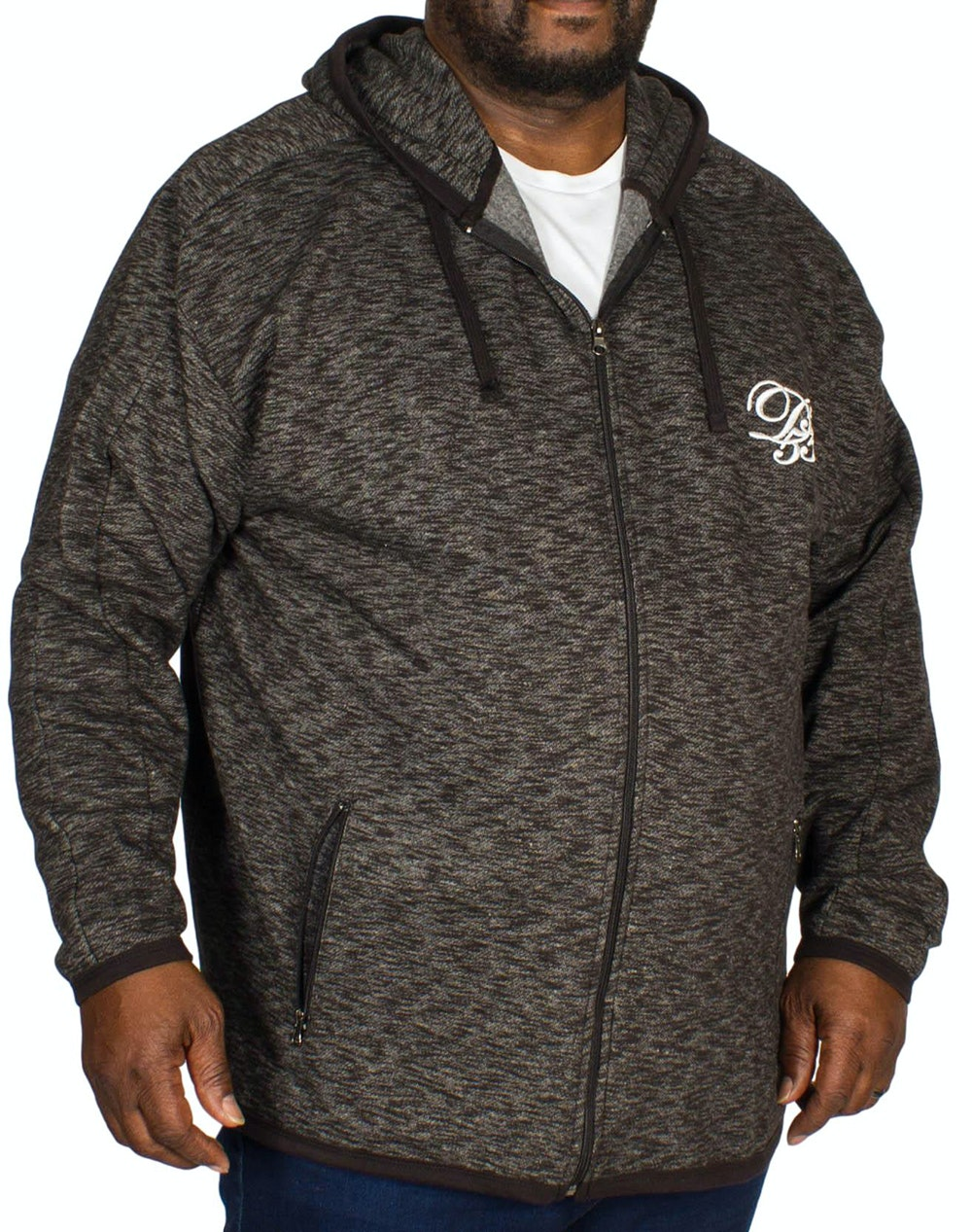 D555 Bennie Full Zip Hoody Dark Grey